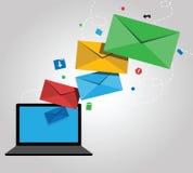 Emailinformationsbladdesign Stock Illustrationer