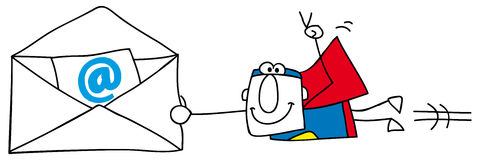 Emailing. Superman with an email envelope Stock Photo