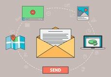 Emailkommunikation - kuvert och bokstav Royaltyfri Illustrationer