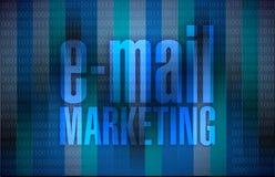 Emailmarknadsföringen undertecknar över en binär bakgrund Fotografering för Bildbyråer