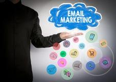 Emailmarknadsföringsaffärsidé Moln- och applikationprogramvarusymboler vektor illustrationer