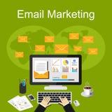 Emailmarknadsföringsillustration Plana designillustrationbegrepp för affär Royaltyfria Bilder