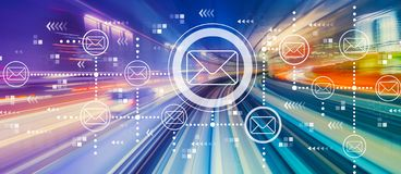 Emails with high speed motion blur stock images