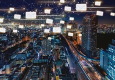 Emails with aerial view of Tokyo, Japan Stock Photography