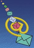 Emails on binary code Royalty Free Stock Image