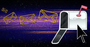 Emails In Cyberspace. Emails going in cyberspace to te world wide web Royalty Free Stock Photography