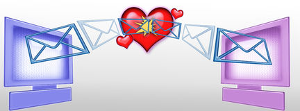 Emails In Cyberspace. Emails going in cyberspace to te world wide web Stock Illustration