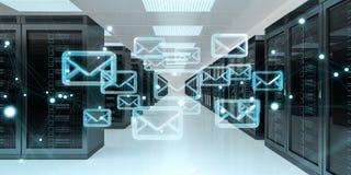 Emails exchange over server room data center 3D rendering Stock Image