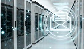 Emails exchange over server room data center 3D rendering Stock Photo