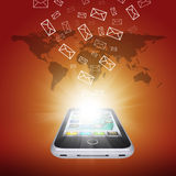 Emails fly out of smartphone screen Royalty Free Stock Photos
