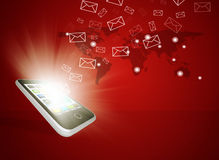 Emails fly out of smartphone screen Stock Photo