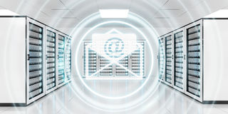 Emails flying over server room data center 3D rendering Royalty Free Stock Images