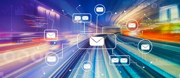 Emails with high speed motion blur. Emails with abstract high speed technology POV motion blur stock illustration