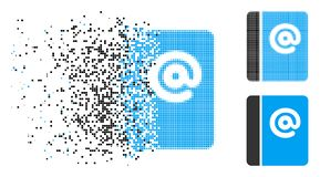 Dissipated Dot Halftone Emails Icon stock illustration