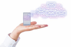 Emails Leaving Cell Phone In A Palm For The Cloud Royalty Free Stock Photo
