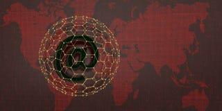 Emailsymbol på röd digital världskarta illustration 3d stock illustrationer
