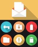 Emailsymboler i plana färger Stock Illustrationer