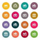 emailsymbolsuppsättning. färg Royaltyfria Bilder