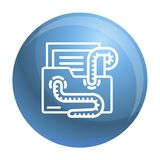 Emailviruset avmaskar symbolen, översiktsstil royaltyfri illustrationer