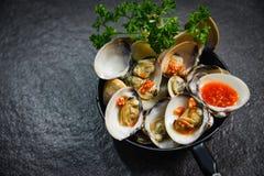 Emaliowej venus skorupy niecki owoce morza kulinarny talerz z Shellfish milczków oceanu wyśmienitym gościem restauracji gotującym obrazy royalty free