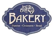 Emalj för tappning för bageriplattatecken Retro royaltyfria bilder