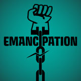 Emancipation. Abstract colorful background with a fist in the end of a broken chain. Emancipation concept Stock Image
