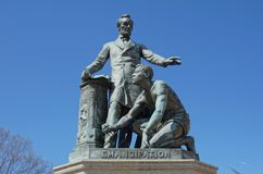 Emancipation Memorial - Lincoln Park. Capitol Hill - Freedman's Memorial by Thomas Ball. Civil War Monument in Washington, DC. National Register of stock photos