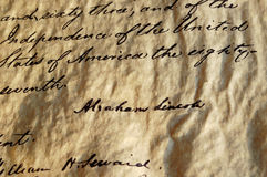 Emancipation Proclamation. The Emancipation Proclamation, signed by President Abraham Lincoln September 22, 1862, freeing the slaves stock photography