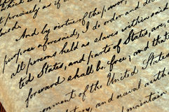 Emancipation Proclamation. The Emancipation Proclamation, signed by President Abraham Lincoln September 22, 1862, freeing the slaves royalty free stock photos