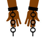 Emancipation from slavery. break free. Chains on slave hands.  Stock Photos