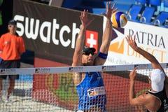 Emanuel Rego - setzen Sie Volleyball in Prag 2012 auf den Strand Lizenzfreie Stockfotos
