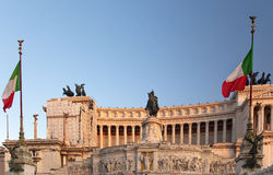 Emanuele Monument Flags Rome Stock Photo