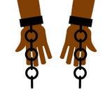 Emanzipation von der Sklaverei Bruch geben frei Ketten auf Sklavenhänden vektor abbildung