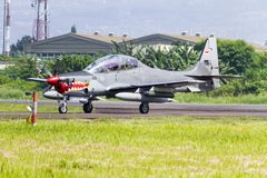 EMB 314 Super Tucano prepare to take off at Bandung Air Show. stock photo