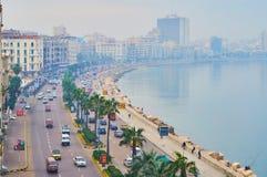 Embaçamento da manhã em Alexandria, Egito fotos de stock