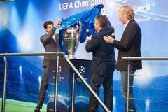 Embaixadores UEFA Mihaylichenko, Figo, Suker Fotografia de Stock Royalty Free