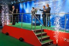 Embaixadores UEFA Mihaylichenko, Figo, Suker Imagens de Stock Royalty Free