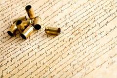 Embalagens da bala na Declaração de Direitos Fotos de Stock