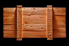 Embalaje de madera antiguo viejo del envío aislado en negro fotografía de archivo libre de regalías