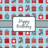 Embalaje de regalos de cumpleaños Foto de archivo libre de regalías