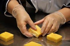Embalaje del queso Imagen de archivo libre de regalías