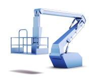Embale e construção hidráulica de levantamento isolada no branco para trás Fotos de Stock