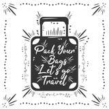Embale sus bolsos Let' s va viaje fotografía de archivo libre de regalías
