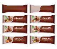Emballage alimentaire de blanc de Brown de vecteur pour le biscuit, gaufrette, bonbons, barre de chocolat, friandise, casse-croût Photos libres de droits