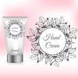 Emballage crème de main avec Lily Wreath Image libre de droits