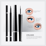 Emballage d'eye-liner avec des types de maquillage d'oeil Photos libres de droits