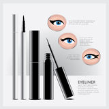 Emballage d'eye-liner avec des types de maquillage d'oeil Photos stock