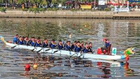 Emballage de bateaux en rivière d'amour pour Dragon Boat Festival à Kaohsiung, Taïwan Image libre de droits