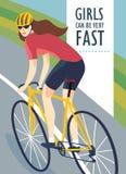 Emballage de l'affiche de femme de cycliste Photographie stock libre de droits