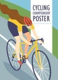 Emballage de l'affiche de femme de cycliste Photographie stock